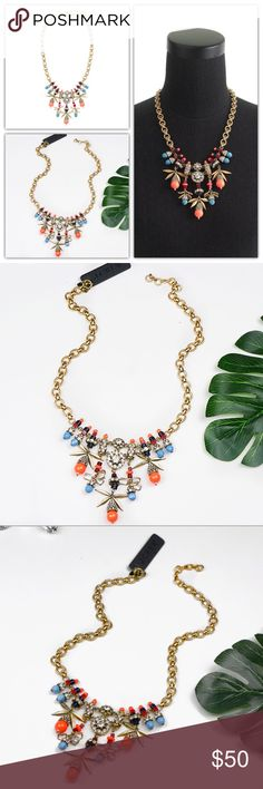 "J.Crew Jeweled Color Burst Statement Necklace Brand new. Comes in aJ.Crew gift box   Dazzling color means you'll get noticed—and you'll get a lot of compliments too. * Brass, zinc, resin, acrylic stones, glass stones. * Light gold plating * Length: 20"" with a 2 1/4"" extender chain for adjustable length. J. Crew Jewelry Necklaces"