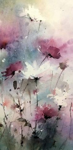 """Watercolor painting """"Red Tulips"""" by Julia Kirilina Abstract Flowers, Abstract Watercolor, Watercolor Illustration, Watercolor Flowers, Watercolor Paintings, Watercolours, Art Floral, Flower Art, Painting & Drawing"""