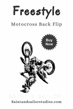 This contains: FREESTYLE MOTOCROSS BACK FLIP Anime Motorcycle, Retro Motorcycle, Vintage Art Prints, Vintage Artwork, Freestyle Motocross, Boys Room Decor, Photo Wall Art, Canvas Wall Art, Illustration Art