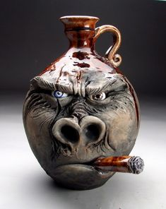 Grafton Pottery Face Jugs: Mitchell Grafton Pottery - Click the image to continue reading. Pottery Sculpture, Sculpture Clay, Pottery Painting, Pottery Art, Pottery Ideas, Face Jugs, 3d Studio, Ceramics Projects, Arte Horror