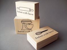 Stand Up Mixer, Whisk, or Rolling Pin Rubber Stamp, Baked with Love, Baked Goods, Food Packaging