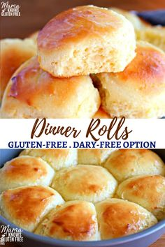 Easy to make gluten-free yeast rolls that are soft and tasty! This gluten-free dinner rolls recipe has only a few steps and is made in less than an hour. The recipe also has a dairy-free option. #glutenfreerecipes #yeastrolls
