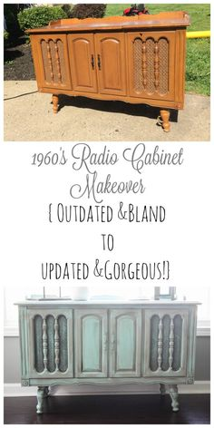 An outdated radio cabinet got a gorgeous makeover& it wasn& a project that& An outdated radio cabinet got a gorgeous makeover& it wasn& a project that went at all as expected! An outdated radio cabinet got a gorgeous makeover& it wasn& a projec Record Player Cabinet, Stereo Cabinet, Radios, Repurposed Furniture, Painted Furniture, Refurbished Furniture, Furniture Making, Diy Furniture, Aqua Walls