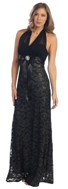 Long Formal Black Lace Dress Halter V-Neck Sweetheart Tight Fit $122.99