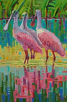 """TheTrios Retreat"" by Rene' Wiley Gallery Unenhanced Giclée ~ Any Size up to 60 x 40 inches Oil Pastel Paintings, Paintings I Love, Animal Paintings, Wow Art, Tropical Art, Wildlife Art, Beach Art, Bird Art, Indian Art"