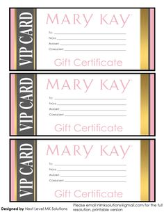 Gift Certificates | Mary Kay Gift Certificate! Checo that ...