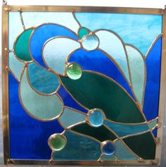 Stained Glass Panel Waves on Etsy, $45.00