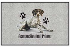 """German Shorthair Pointer - Sporting Dogs - Gray - Door and Welcome Mat by Express Yourself Mats. $24.88. Non-Skid Backing. Made in USA. Great Gift Idea!. Personalization Available (choose above) - EMAIL TEXT TO SELLER AFTER CHECKOUT. Door Mat Size 27""""x18"""". Enjoy the German Shorthair Pointer design heat pressed on this light-weight, low pile, woven polyester door mat. This decorative welcome mat measures 27 x 18 inches, is 1/8 inch thick and features a non-skid latex..."""