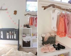 Yes, take those closet doors off and replace the old rod with the branch.  Open closet and hang those lil outfits!