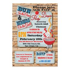Rustic BBQ Couples Diaper Party Invitations