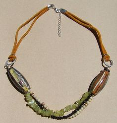 Necklace with image transfer beads by Carolyn Hasenfratz