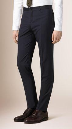 Slim Fit Wool Silk Trousers   Burberry