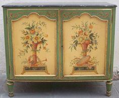 David Skinner Antiques - Charleston, South Carolina - Pair of Italian 1920s Hand Painted Commodes