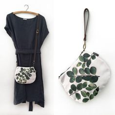 2-in-1 Crossbody / Clutch - Round Leaves Crossbody Clutch, Clutch Bags, 2 In, Leaves, Fabric, Shopping, Collection, Products, Tejido
