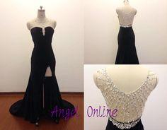 side split prom dress.black prom dress.sexy by Angelonlinedress