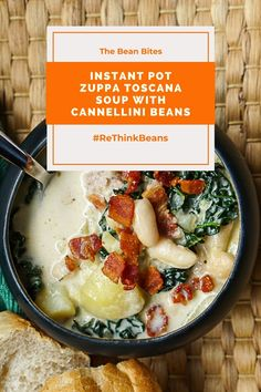 This creamy Instant Pot Zuppa Toscana soup has an extra pack of protein with the addition of cannellini beans. Together, the white beans and pork blend seamlessly with milk and pecorino cheese make a soup hearty enough for a filling winter meal. Kale adds a punch of extra fiber too. One Pot | Easy | Tasty |