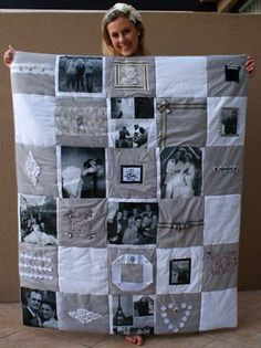 a DIY photo quilt - I want to do this one day and it would make a great gift for family with family pictures :D