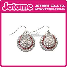 Cheap Sparkling Crystal Embellished Baseball Softball Dangle Earrings Sports Theme for Women and Teens #baseball, #theme