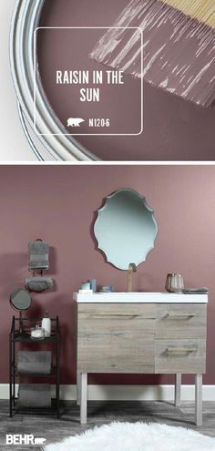 It's easy to create an at-home spa when you paint your bathroom walls with Behr Paint in Raisin In The Sun. This red-touched shade of purple adds a . Office Paint Colors, Bathroom Paint Colors, Paint Colors For Living Room, Paint Colors For Home, Wall Colors, House Colors, Paint Colours, Paint For Bathroom Walls, Spa Colors