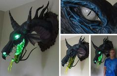 """OMFG I WANT THIS SO BAD!!!    Magnificent Maleficent paper mache """"trophy"""" by Dan the Monster-man: http://j.mp/PCMjDz"""