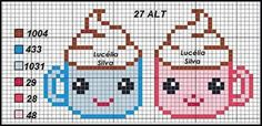 This Pin was discovered by Eta Cross Stitch For Kids, Cross Stitch Kitchen, Mini Cross Stitch, Beaded Cross Stitch, Cross Stitch Embroidery, Embroidery Patterns, Melty Bead Patterns, Loom Patterns, Cross Stitch Designs