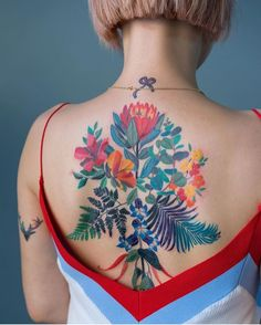 Colorful floral back tattoo for girls