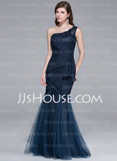 Evening Dresses - $176.99 - Mermaid One-Shoulder Floor-Length Tulle Evening Dress With Lace (017025780) http://jjshouse.com/Mermaid-One-Shoulder-Floor-Length-Tulle-Evening-Dress-With-Lace-017025780-g25780