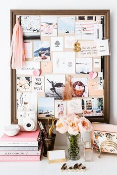 Pin board goals in this pastel pink and peach inspired office.