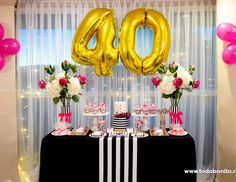 Todo Bonito's Birthday / Kate Spade - Mis 40 at Catch My Party 40th Birthday Parties, Gold Birthday, Birthday Woman, Birthday Diy, Birthday Celebration, 50th Birthday Party For Women, Simple Birthday Decorations, Kate Spade Party, 40th Birthday