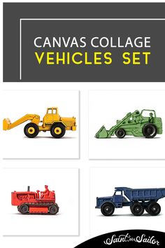 Tractor nursery art- Vintage Tractors in Primary Colors on White background set of Four Canvases Vintage Art Prints, Vintage Canvas, Vintage Artwork, Canvas Collage, Canvas Art Prints, Tractor Nursery, Home Designer, Art Studio Design, Vintage Tractors