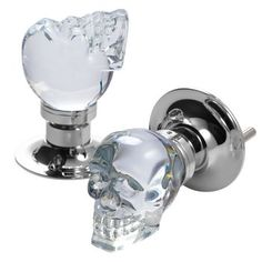 Skull Doorknobs. Add a little Addams Family-style chic to your décor with this crystal skull doorknob. Made of hefty glass for a solid feel, it's a sophisticated and subtly subversive take on the traditional crystal styles found in Victorian houses. $185.00