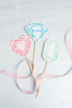 DIY Watercolored Gem Cupcake Toppers