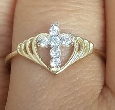.10  c womans 10k yellow Gold heart cross Ring s 5 6 7 8 9 #SolitairewithAccents