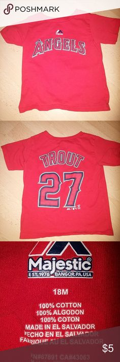 sz 18M Majestic Trout #27 Angels short sleeve tee Los Angeles Angels of Anaheim short sleeve red tee - Mike Trout #27. 100% cotton. Angels logo.  Size 18 months - See photos for details. Smoke free home. Please message me with any questions. Ask if additional size detail is needed.  15% discount for 3+ item bundles. Check out my closet. Happy Poshing!  599 Majestic Shirts & Tops Tees - Long Sleeve