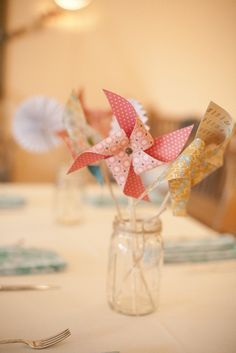 Twins Birthday Centerpiece: Pinwheels in Mason Jar