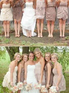 That is how you properly mix match the bridesmaid outfits!