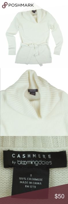 """BLOOMINGDALE'S 100% Cashmere Ivory Cowl Sweater Excellent condition! This ivory Cashmere sweater from Bloomingdales features a Cowl neckline, longer length, and tie at the waist. Made of 100% Cashmere. Measures: bust: 36"""", total length: 27"""", sleeves: 25"""" Bloomingdale's Sweaters Cowl & Turtlenecks"""