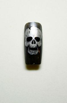 Nail Art by Pisut Masanong #nail #nails #nailart - skull design nail art...x