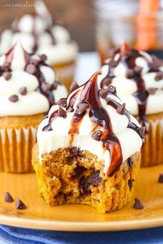 These Pumpkin Chocolate Chip Cupcakes are made with a pumpkin spice cupcake that's full of chocolate chips and topped with a cream cheese frosting! They are the perfect way to cure your pumpkin craving this fall! Oh my goodness, it's officially starting to get cold here and I'm simultaneously thrilled that it's cooling down and …