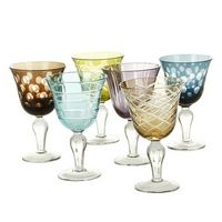 Pols Potten - Mixed Cuttings Wine Glass - Set of 6 | Cheeky Wish List | Wedding and Birthday Gift Ideas for Men and Women