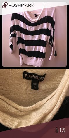 EXPRESS cream and black striped dolman 3/4 sleeve slight pilling. Very lightweight and comfortable Express Tops