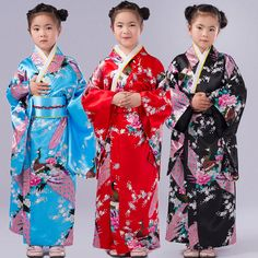 Girls Kids Japanese Peacock Printing Geisha Kimono. Style : Japanese Geisha Kimono. Dress Fancy Dress Up Costume. Colour : Red, Navy Blue, Sky Blue, Pink ,Black. For kids Height. Size : See following size chart. | eBay!