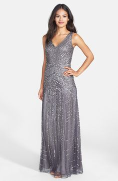 Adrianna Papell Beaded Mesh V-Neck A-Line Gown in Gunmetal