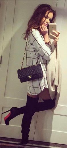 #winter #fashion /  White Pattern Dress / Black Quilted Leather Shoulder Bag / Black OTK Boots