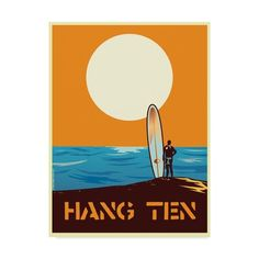Hang Ten by Diego Patino Vintage Advertisement in Orange East Urban Home Size: 60 cm H x 42 cm W Diy Poster Frame, Diy Frame, Painting Frames, Painting Prints, Art Prints, Frames On Wall, Framed Wall Art, Wassily Kandinsky Paintings, Hanging Posters