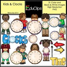 Kids And Clocks Clip Art Bundle from Educlips on TeachersNotebook.com -  (31 pages)  - Kids And Clocks Clip Art Bundle - Kids holding clock to help learn to tell the time.
