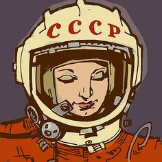 First woman in space -- Valentina Tereshkova! Illustration by Philip Bond