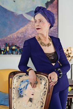 Advanced Style Vogue. Beatrix Ost. I'd wear it, minus turban and midriff showing
