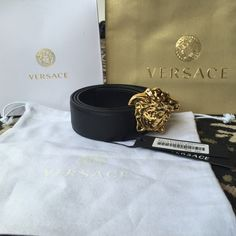 fa241c599b65 Men s Versace black leather belt size 95 Black Versace belt size fits waist  - Authentic brand new- Versace gold medusa buckle- comes with tags, dust  bag, ...
