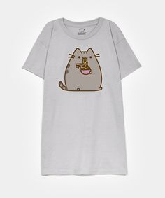 Pusheen eating ramen unisex T-shirt